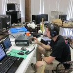 Trey, KF5ZCL on the 6m station on Saturday afternoon. It was slow going until the opening Sunday morning.