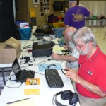 Steve, WA5FKF, and Thorton, KG5HCL, work the GOTA station. Thorton got his license this year. He made a total of 11 GOTA contacts.