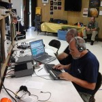David, W5XU and Jerry, W5AJD work on 15m CW.