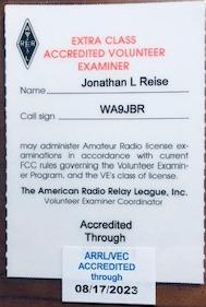 WA9JBR VE certificate